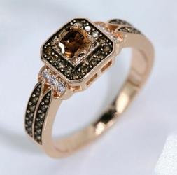 halo square chocolate cz rose gold plated