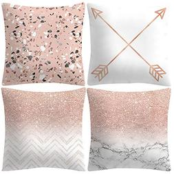 "Huangou 4 Pcs - 18"" Rose Gold Pink Hand Painted Style Throw"