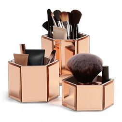 Beautify Rose Gold Hexagon Storage Pots for Makeup Cosmetics
