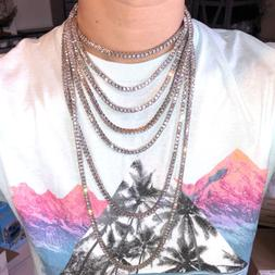 Hip Hop Iced Out Tennis Chain Choker 18K White Yellow Rose G