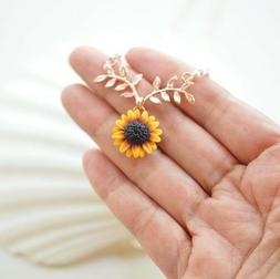 Hot Sunflower Pendant Sun Flower Rose Gold Necklace Chain Je