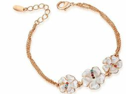 I love You Pearl Flower Crystal Rose Gold Plated Chain Brace