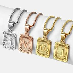 Initial Letter Name Necklace Pendant Gold Plated Stainless S