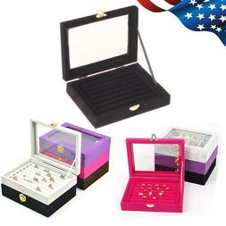 Jewelry Ring Velvet Glass Display Box Tray Holder Organizer