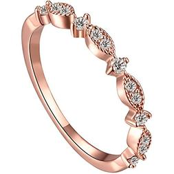 BOHG Jewelry Women's 3mm 18k Rose Gold Plated Cubic Zirconia