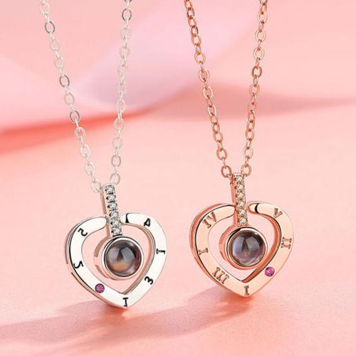 100 Languages Light I You Heart Pendant Necklace Lover