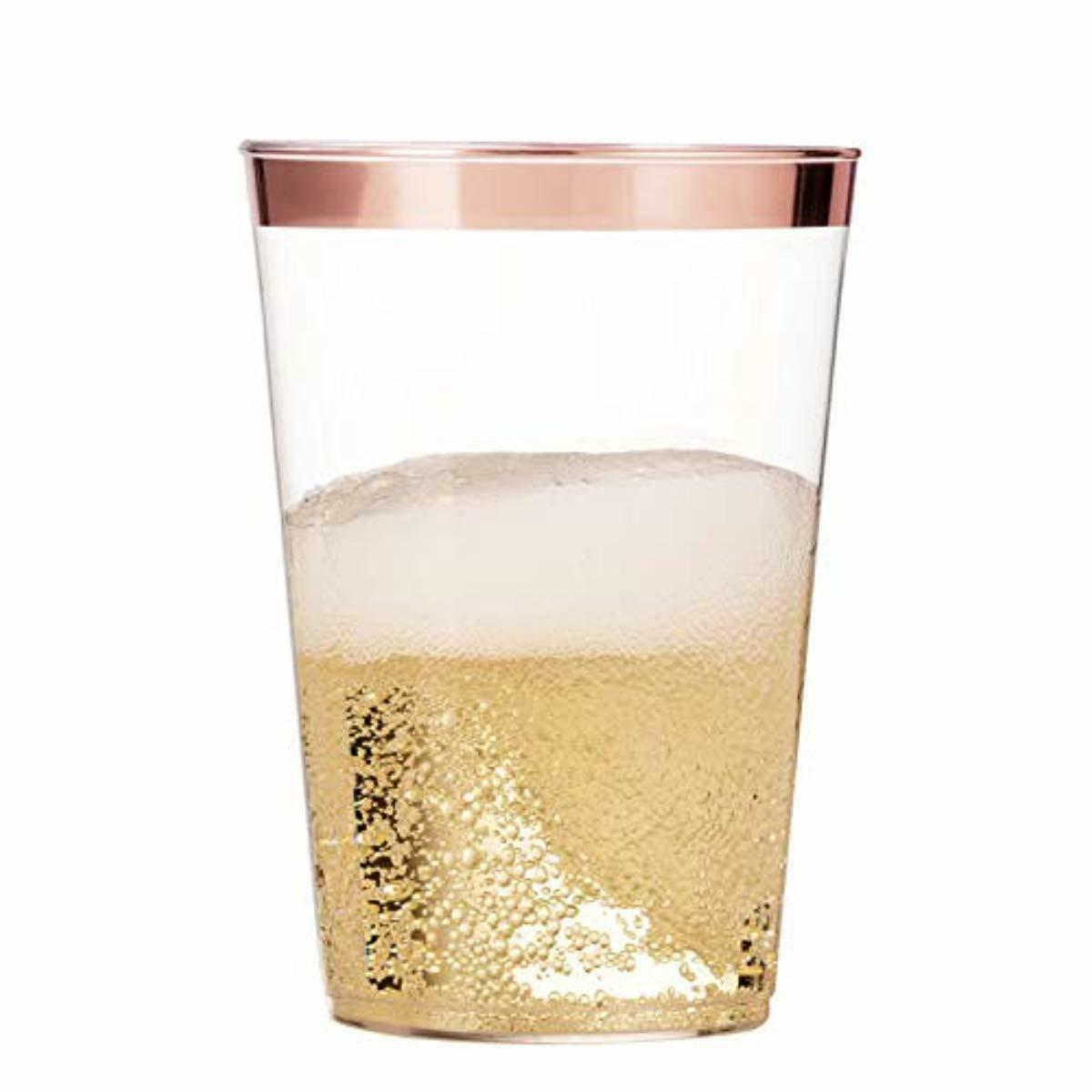 100 ROSE Plastic Cups 10 Oz Clear Tumblers Rimmed Wedding