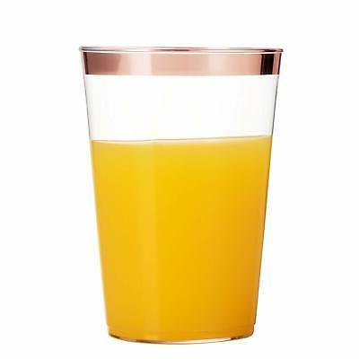 100 Gold Plastic Cups Clear Plastic Tumblers Gold Rimmed...