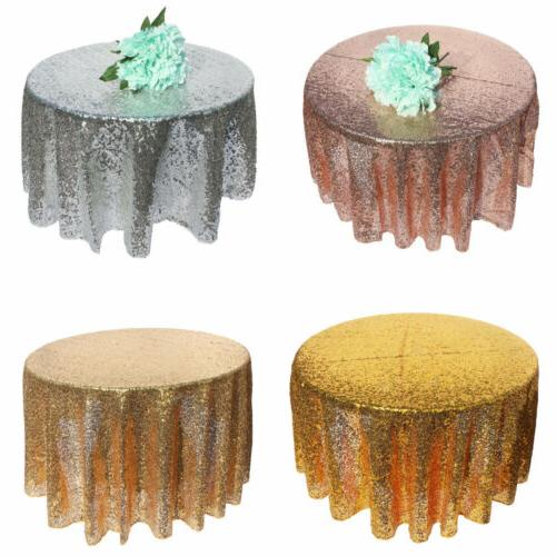 120cm Round TableCloth Cover Sparkly Sequin Glitter For Wedd