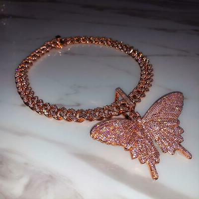 12mm Pink butterfly and rose gold  miami cuban link chain, b
