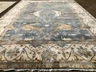 12x18 BLUE HAND KNOTTED RUG WOOL NEW OUSHAK MADE USHAK persi