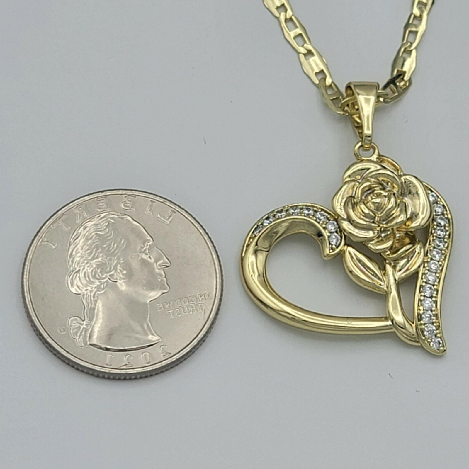 14K Gold Plated Heart Rose Pendant with Women Oro Laminado