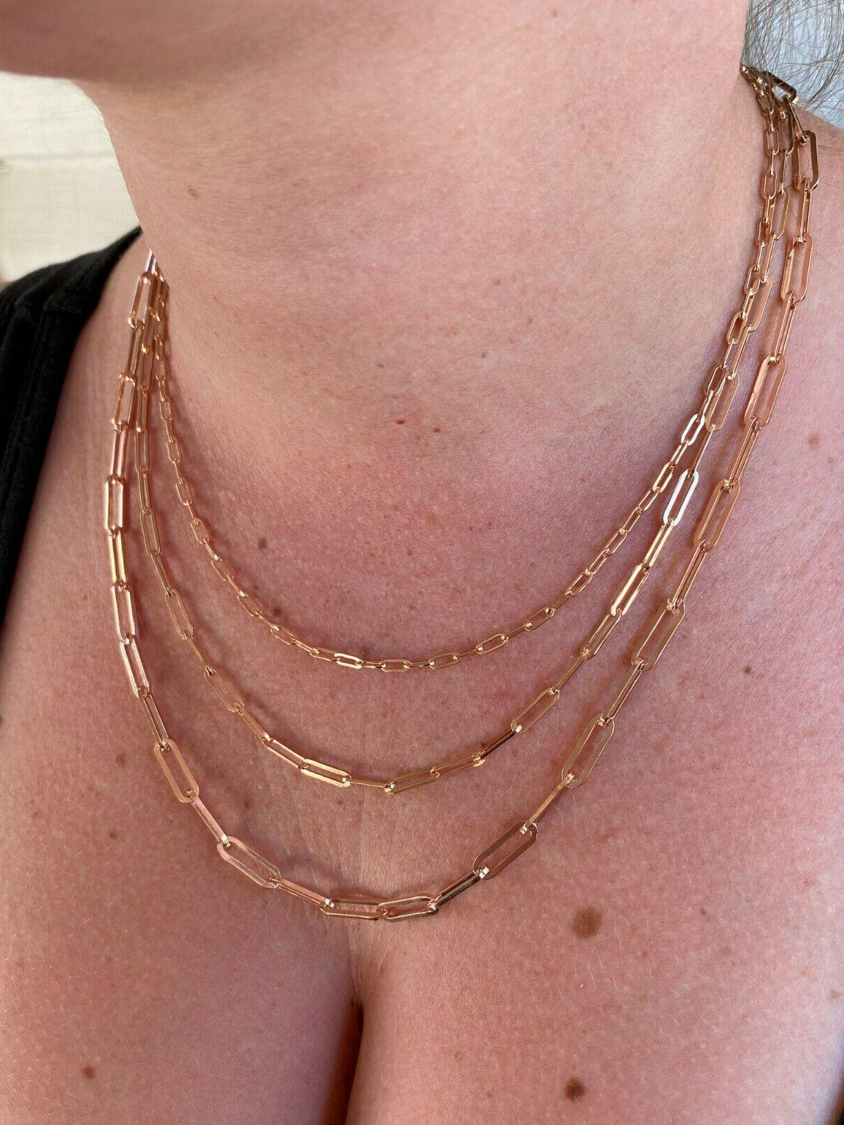 14k Solid 925 Silver Rolo Necklace