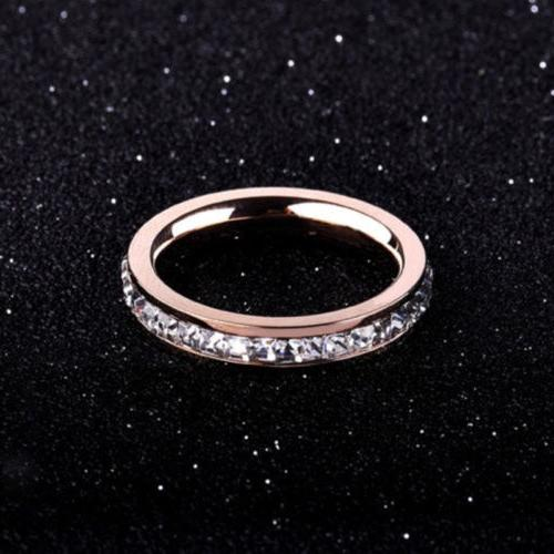 18K Gold/Silver/Rose Gold CZ Titanium Steel Wedding Band