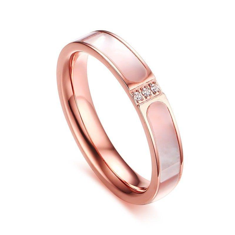 18K Rose Gold 3-stones CZ Bands Women's 4mm Stainless Steel
