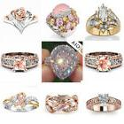 18K Rose Gold Filled White Pink Sapphire Women Wedding Party