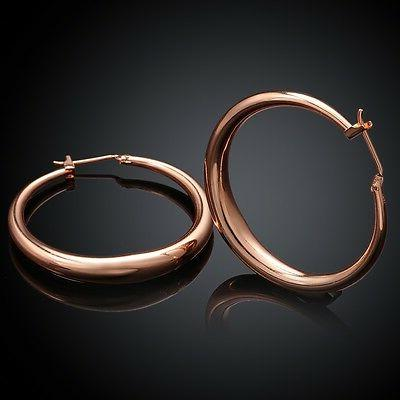 18k rose gold latch back hoop bali