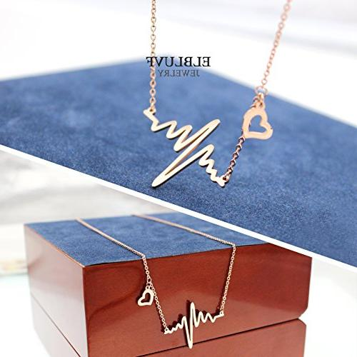 ELBLUVF Plated Love Cardiogram Necklace