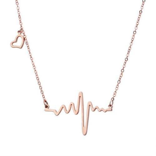 18k rose gold plated stainless steel heart