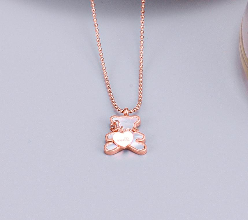 18KGP Gold Rose Tone Mother-of-Pearl Bear with