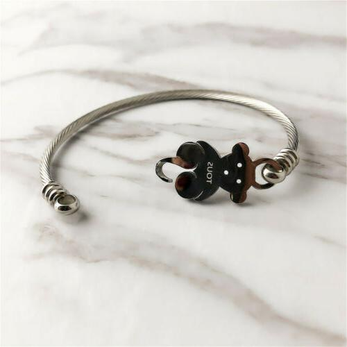 1pc Women's Steel Bear Bangle
