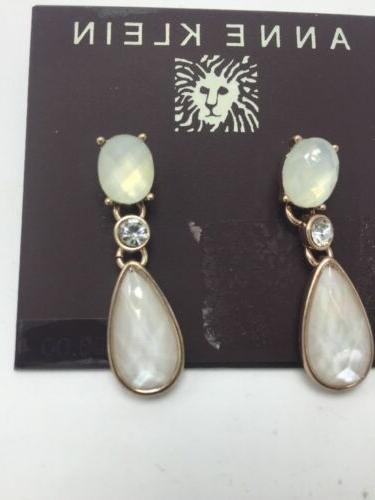 $20 Anne Klein Rose Gold Tone faceted Stone  Drop  Earrings