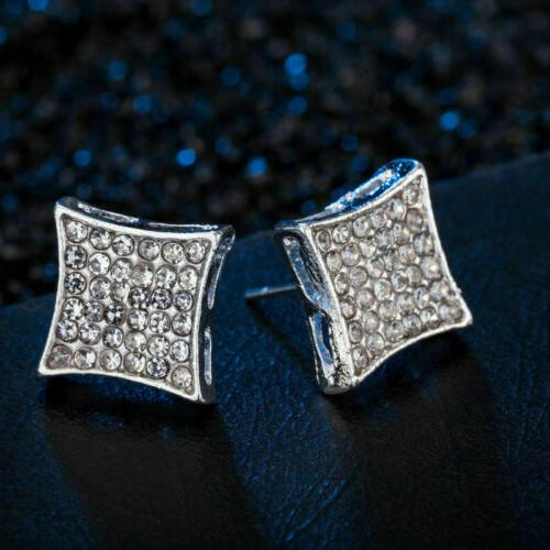 2019 Plated Men's Iced Out Square Stud Earrings