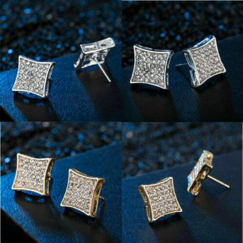 2019 Plated Hip Iced Out Square Stud Earrings