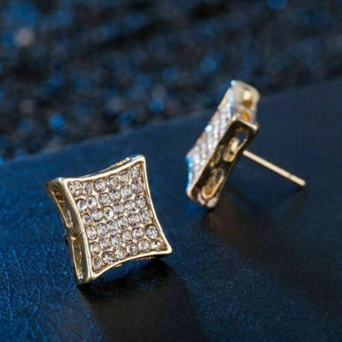 2019 Fashion18K Rose Plated Iced Square Stud Earrings