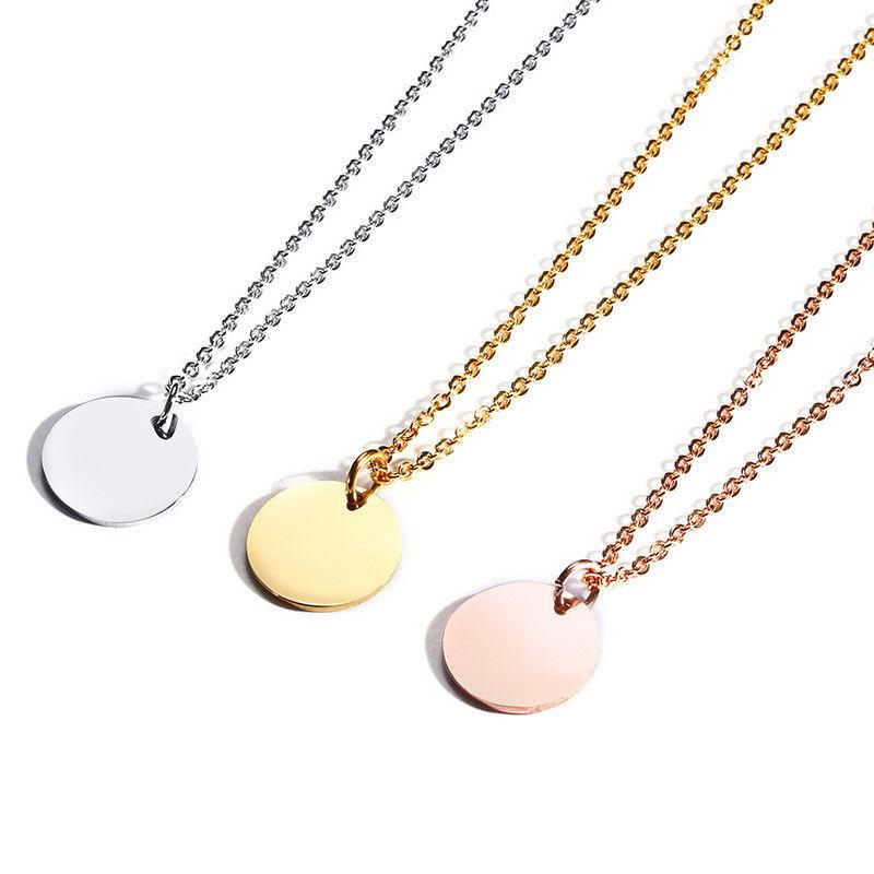 20mm Coin Necklaces Women's Stainless Steel Round Circle Col