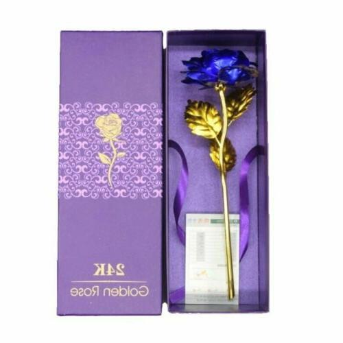 24k gold plated blue rose flowers anniversary