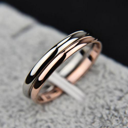 2MM Rose Gold/Silver/Gold/Black Stainless Steel Wedding Band Couples Ring