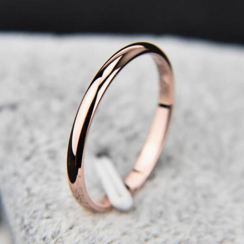 2MM Rose Gold/Silver/Gold/Black Stainless Steel Smooth Weddi