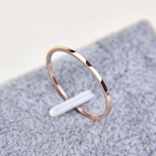 2mm Round Rose Plated Ring Wedding Band Sz3-10