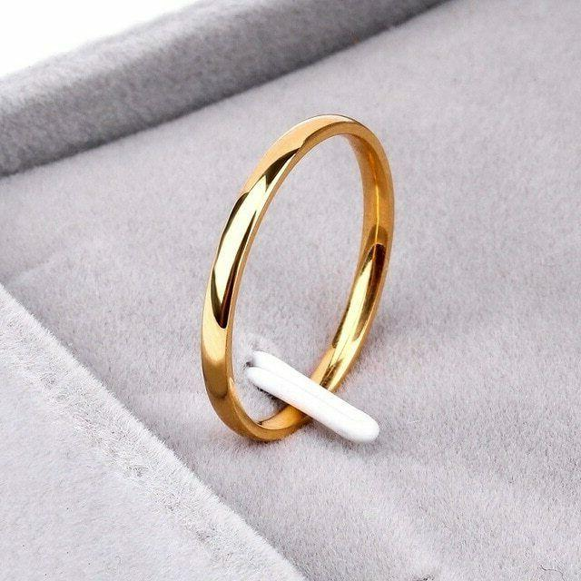 2mm Yellow Rose Gold Men Size 4-11