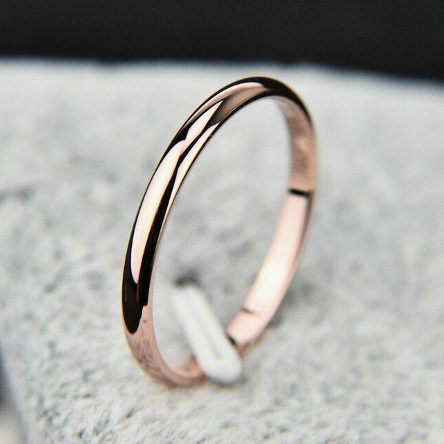 2mm Thin Polished Band Yellow Rose Gold Silver Men Women Wed