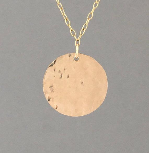 3/4 INCH Fill Hammered Circle Necklace Silver