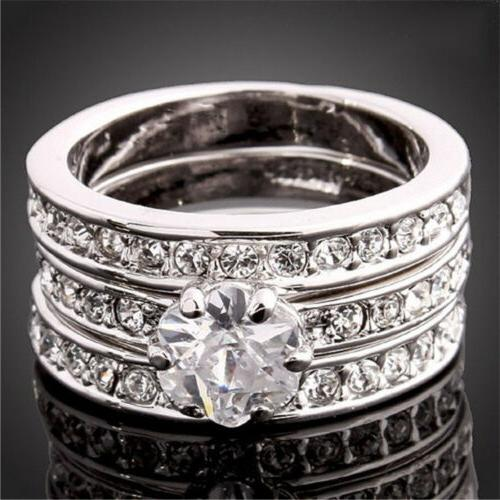3-In-1 CZ Wedding Ring Set White/Yellow/Rose/Gold Filled Wom