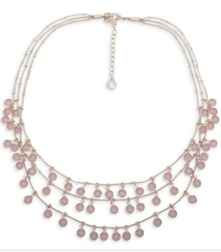 $36 ANNE KLEIN SHAKEY STONE TRIPLE ROW NECKLACE PINK ROSE GO