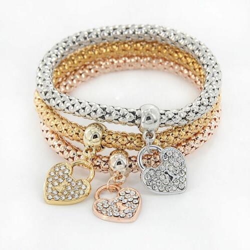 Gold Crystal Heart Bracelets
