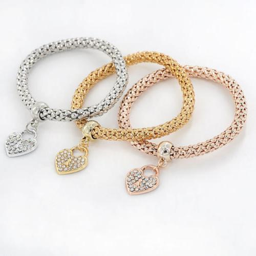 3x Girls Gold/Silver/Rose Gold Heart Bangles