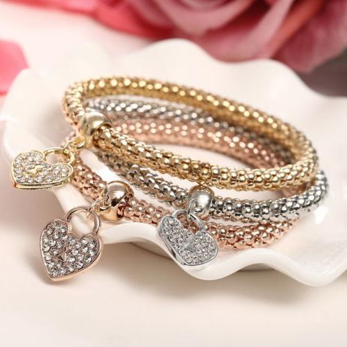 3x Women Gold Heart Bracelets
