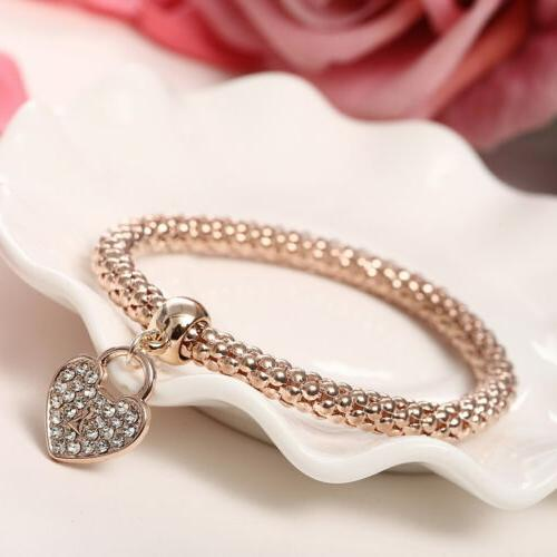 3x Girls Gold/Silver/Rose Gold Heart Bracelets