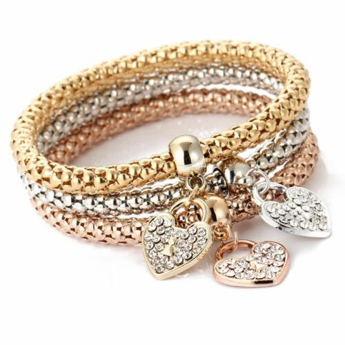 3x women girls gold silver rose gold