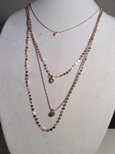 $45 Anne Klein Rose-Gold Tone Multi Later Pave Necklace AK15