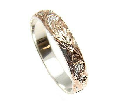 4MM SILVER 925 PLUMERIA SCROLL BAND RING SIZE 1 12