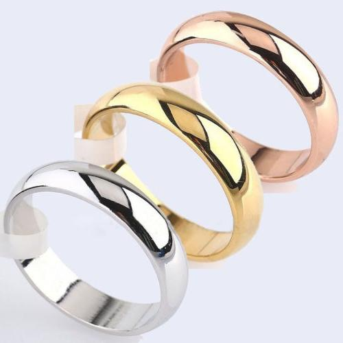 4mm Round 18K Yellow White/Rose Gold Plated Ring Men/Women's