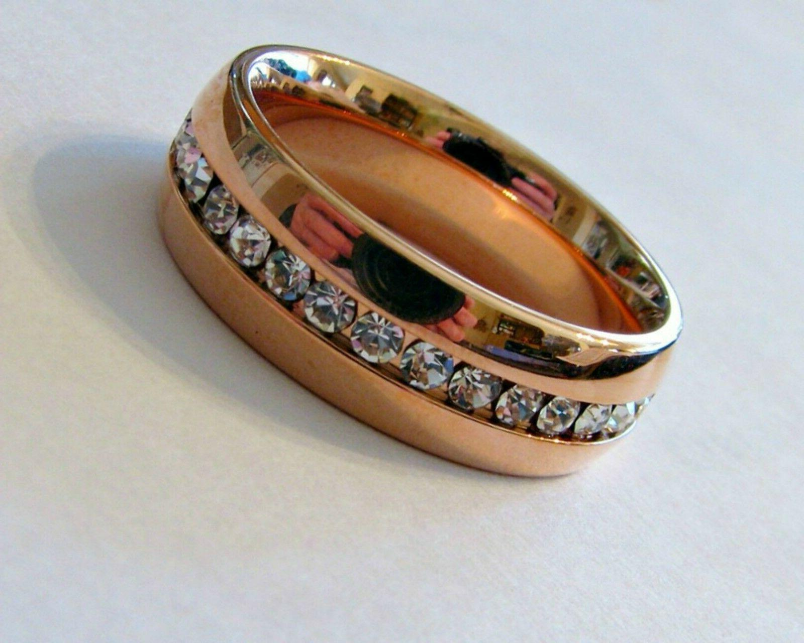 7mm rose gold stainless steel eternity cz