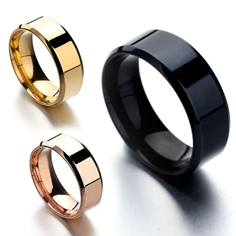 8MM Stainless Steel Mens Womens Engagement Ring Band