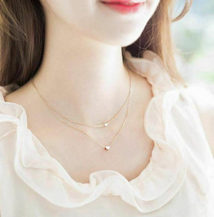 925 Sterling Silver Gold Two Layers Pearl Pendant Girl